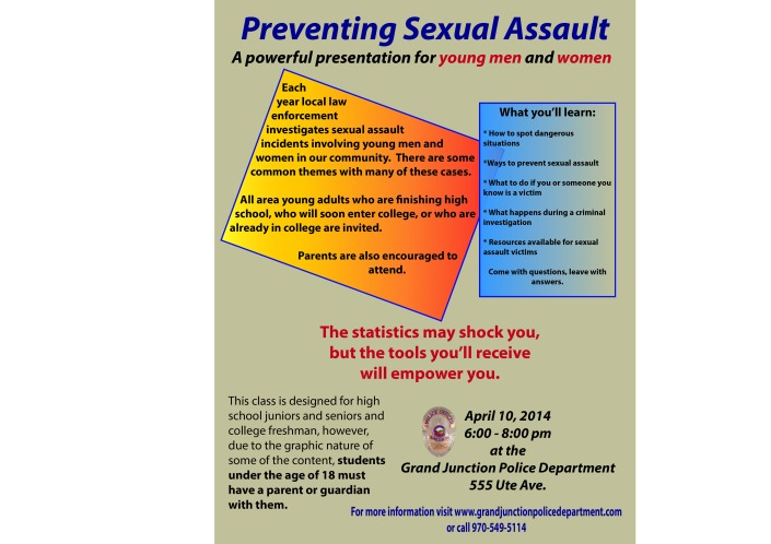 Sexual Assault Prevention class flyer 04-10-14
