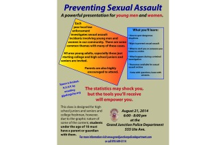 Sexual Assault Prevention class flyer 08-21-14